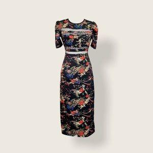 EUC Urban Outfitters Floral Mesh Maxi Sheath Dress